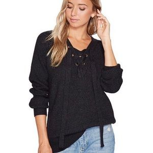 Bishop + Young Jessie Lace Up Ribbed Sweater